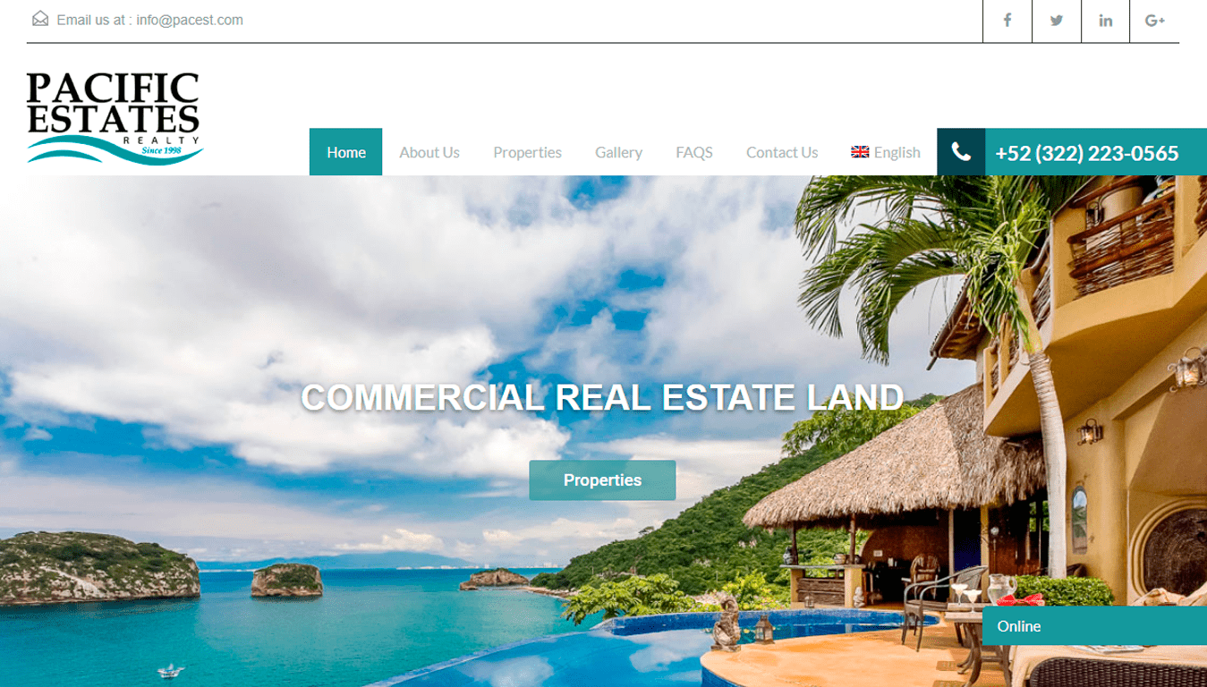 diseño web Pacific Estates Realty puerto vallarta